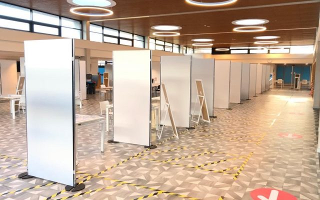 Covid-19 student testing facility - partition screen hire